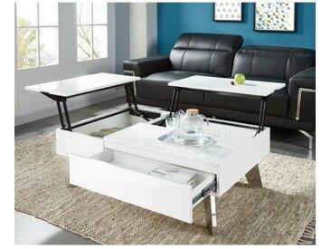 ZANZIBAR Table basse transformable style contemporain laqué blanc brillant avec pieds chromés - L 110 x l 75 cm