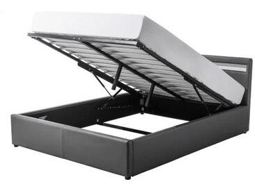 MARS Lit coffre adulte classique - Simili gris - Sommier et tête de lit avec LED inclus - l 140 x L 190 cm