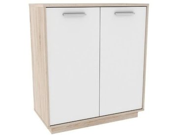 LEO Meuble de rangement 2 portes - Décor chêne brossé et blanc perle -  L 76 x P 36.8 cm