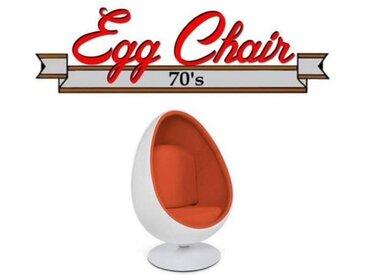 Fauteuil pivotant Oeuf, Egg chair coque blanche / intérieur feutrine orange Design 70's. orange Velours Inside75