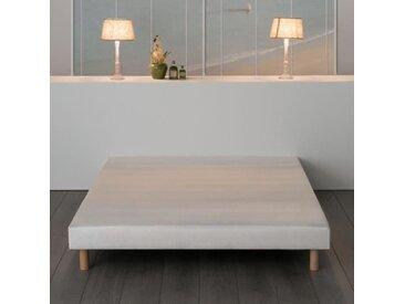 Sommier tapissier à lattes 160 x 200 - Bois massif blanc + pieds - DEKO DREAM Rakenne