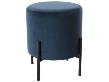 BLANCHE Tabouret rond - Pieds métal et tissu velours bleu nuit - 35 x 35 cm