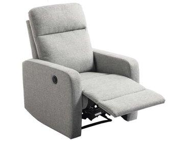 RICK Fauteuil de relaxation électrique - Tissu gris - L 76 x P 88 cm