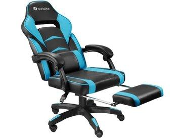 TECTAKE Chaise de Bureau Design Gamer STORM  - Confortable - Hauteur Réglable - Inclinable - Pivotante - Noir Bleu Azure