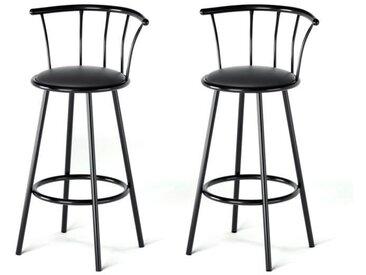 BISTROT Lot de 2 tabourets de bar avec assise pivotante - Noir