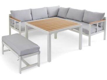 BOCARNEA Salon de jardin YUZU DINING en aluminium - Avec table haute - 7 places - Coussins gris perle