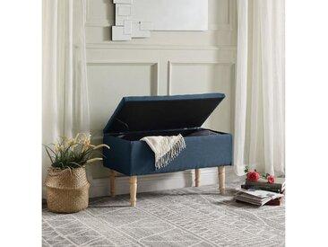 EMILIE Banc avec coffre de rangement - Tissu bleu canard - Classique - L 80 x P 43,5 cm