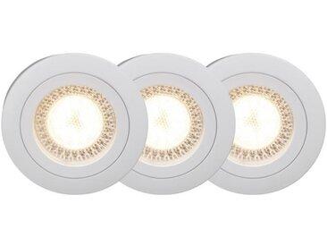 BRILLIANT Kit de 3 spots encastrable fixes LED Easy Clip diamètre 7 cm GU10 5W blanc