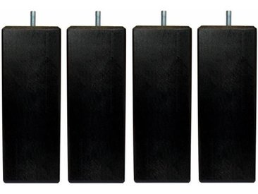 Jeu de pieds carrés L 6 cm x l 6 cm H 19 cm - Noir - Lot de 4