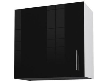 OBI Caisson haut de cuisine avec 1 porte L 60 cm - Blanc et noir laqué brillant