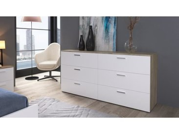 CITY Commode de chambre style contemporain décor chêne clair et blanc - L 160 cm