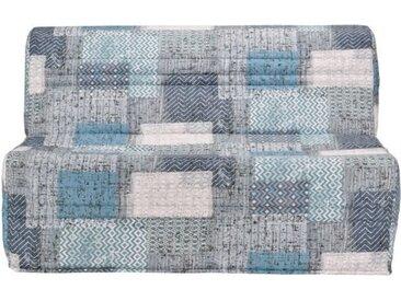 JOE Banquette BZ PATCHWORK - Tissu bleu blanc et gris - L 143 x P 101 x H 95 cm