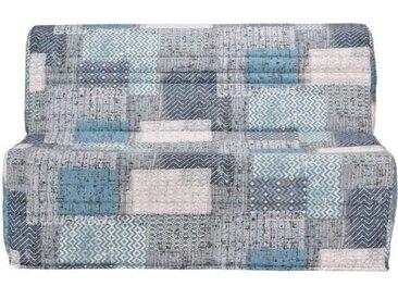 JΠBanquette BZ PATCHWORK - Tissu bleu blanc et gris - L 143 x P 101 x H 95 cm