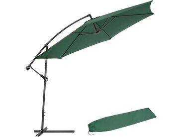 TECTAKE Parasol déporté Inclinable Vert Pied en Métal + Housse de protection