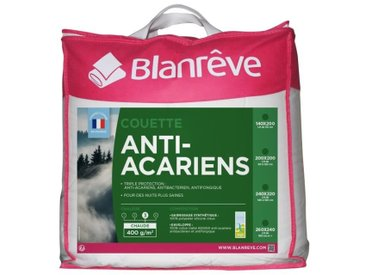 BLANREVE Couette chaude 400gm2 Anti-Acariens 220x240 cm blanc