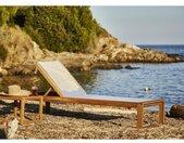 BOCARNEA Chaise longue LEVATA en acacia et textilène - Gris Perle