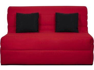 Banquette BZ Dunlopillo - Tissu Rouge + 2 coussins noir - L 140 x P 99 x H 98 cm - ALICE