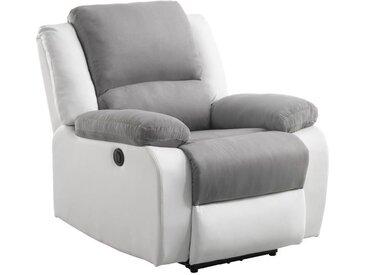 RELAX Fauteuil relaxation Electrique - Simili Blanc et tissu gris - L 88 x P 93 x H 96 cm