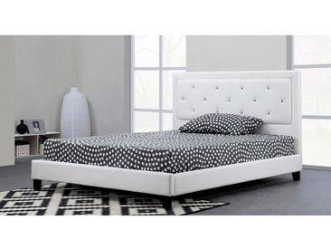 FILIP Lit adulte contemporain simili blanc - Sommier et tête de lit capitonnée inclus - l 160 x L 200 cm