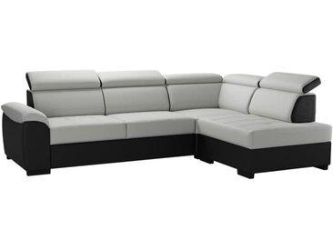 KYLIAN Canapé d'angle convertible + coffre de rangement - Simili Noir et blanc - L 258 x P 187 x H 77/89 cm