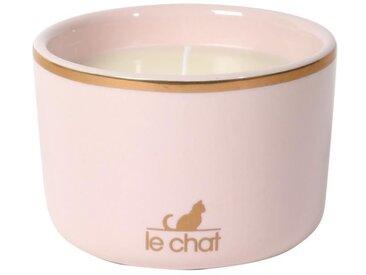 LE CHAT Bougie parfumée Iris et Jasmin Premium - Céramique laqué - rose et or - Ø 8,5 x H 5,8 cm