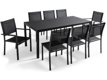 Table de jardin en aluminium et verre 8 places Noir