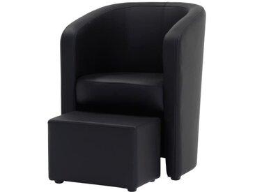 NUNO Fauteuil cabriolet + pouf en simili noir - L 59 x P 63 x H 77 cm