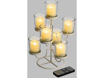 LOTTI Chandelier en métal blanc - 7 verres et 7 bougies LED ivoire - Ø 3,8 x H 4,5 cm - Effet flame