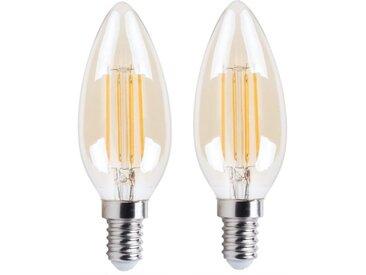 XQ-Lite Lot de 2 Ampoules bougie or LED E14 XQ1462G 4 W équivalent à 30 W blanc extra chaleureux