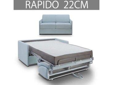 COLOSSE Canapé lit RAPIDO Inside75 - Epaisseur 22 cm - Velours pastel bleu
