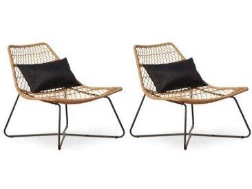 Lot de 2 fauteuils de jardin Oviala Moorea Résine tressée Marron