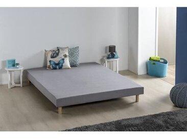 Sommier tapissier à lattes 140 x 190 - Bois massif gris + pieds - DEKO DREAM  Rakenne