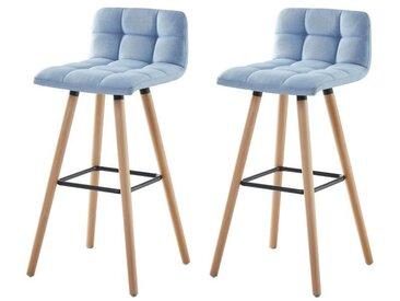 STINA Lot de bar 2 tabourets de bar en bois hêtre massif - Revêtement tissu bleu clair - Scandinave - L 42 x P 49 cm