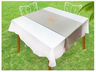 SOLEIL D'OCRE Chemin de table Baguette - 40x140 cm - Gris et or