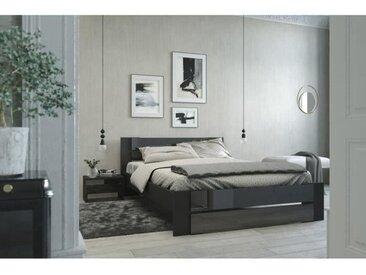 EDEN Lit adulte contemporain noir brillant - l 160 x L 200 cm