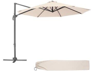 TECTAKE Parasol Déporté Excentré de Balcon à Pied Toile Inclinable en Aluminium 372 cm x 300 cm Beige
