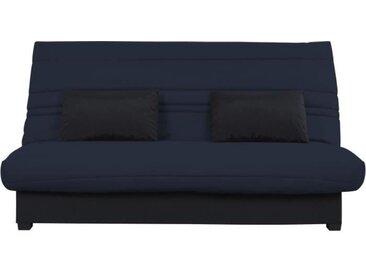 Banquette Clic clac Dunlopillo - Tissu Gris + 2 coussins Noir - L 194 x P 98 x H 100 cm - ROXI