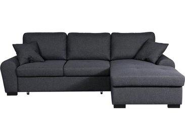 JENA Canapé d'angle droit convertible 5 places + Coffre de rangement - Tissu gris foncé - Contemporain - L 248 x P 173 cm