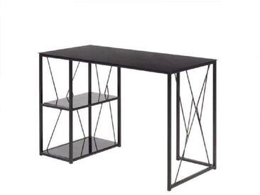 TRIGO Bureau contemporain en métal et verre trempé noir laqué - L 110 cm