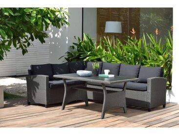 Salon de jardin avec table repas en résine tressée 5 personnes ERODE