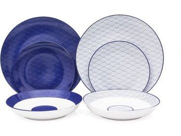 Service de Table 18 pièces en porcelaine 2 motifs Mix and Match bleu et blanc