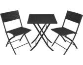 TECTAKE Salon de jardin TREVI Résine tressée 2 Personnes, 2 Chaises et 1 Table pliantes Noir