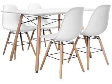 Ensemble table à manger 4 à 6 personnes LONDON + 4 chaises scandinaves - Blanc mat - L 120 x l 80 et L 51,5 x P 46 cm