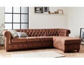 Winston - Canapé d'angle Chesterfield - 4 places - style industriel - droit Couleur - Marron