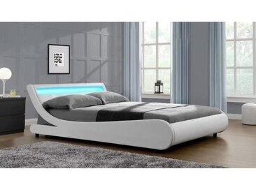 MERCURE Lit adulte contemporain - Simili blanc - Sommier et tête de lit avec LED inclus - l 160 x L 200 cm