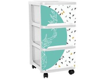 EDA PLASTIQUE Tour de rangement Visio - 3 tiroirs - Blanc motif Scandi