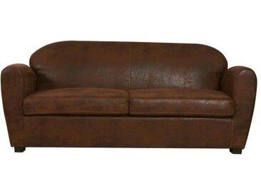 OPS 100% FRANCAIS - Canapé Club 2,5 places CORONA - Tissu effet cuir vieilli marron - L 186 x P 90 cm