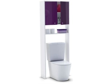 CORAIL Meuble WC ou machine à laver L 63 cm - Aubergine Laqué  mwcaub