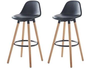 BRIT Lot de 2 tabourets de bar - Simili noir - Pieds en bois hêtre massif - Style scandinave - L 39,5 x P 44 cm