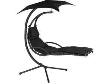 TECTAKE Fauteuil Suspendu avec Pare-Soleil et Support en Acier 195 cm x 118 cm x 202 cm Noir